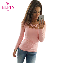 2016 Autumn T Shirt Women Long Sleeve Slim Fit Fashion Ladies Top Hollow Out Tops Tee Solid LJ4515R(China (Mainland))