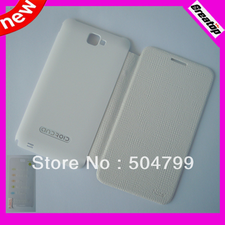 White color Original Flip leather case + Screen protector sets for Star MTK6577 phone N8000+ MTK6575 N8000 Android Smart phone