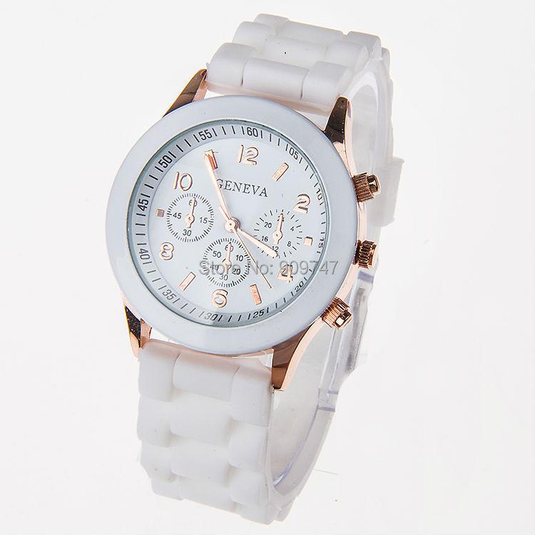 Женева часы свободного покроя унисекс часы три круги дисплей силикон ремень желе часы