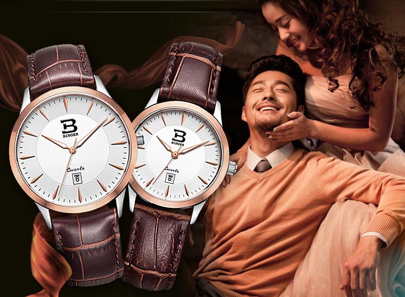 Бингер мужской Stanless Стали часы мужчины люксовый бренд большие часы для любителей Розового Золота леди спорт женщины платье кварцевые наручные часы