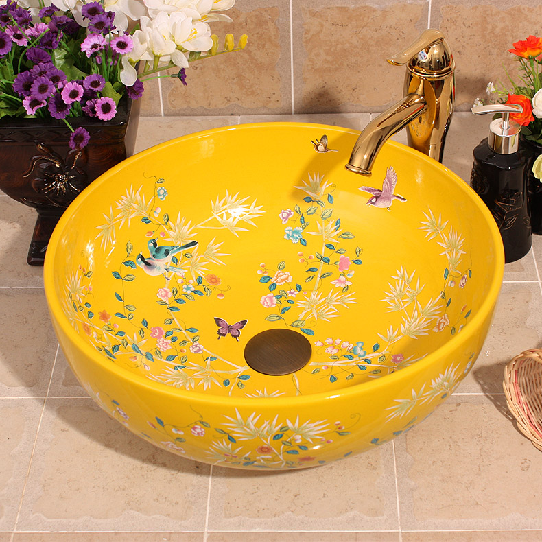 Colorful flowers and birds Style Ceramic Art Basin Sinks Counter Top Wash Basin Bathroom Sinks vanities a wash basin shampoo(China (Mainland))