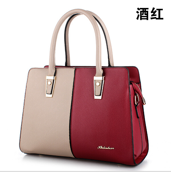 2016 new european women handbags real leather  office lady dress patchwork shoulder bags red fashion women bags black leather<br><br>Aliexpress