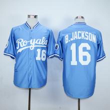 Mens 16 Bo Jackson Jersey 2016 White Blue Grey Stitched(China (Mainland))
