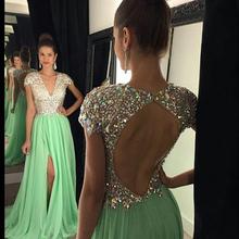 Sexy V Neck Chiffon Sequin Sparkly Prom Dresses 2017 Side Split Crystal Formal Evening Prom Party Dresses Gowns Vestido de festa(China (Mainland))