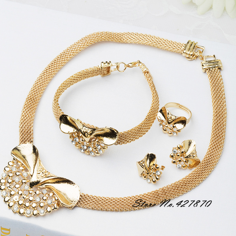 Bridal jewelry sets nigerian wedding african beads jewelry set crystal 18k gold plated jewelry wedding accessories party J023(China (Mainland))