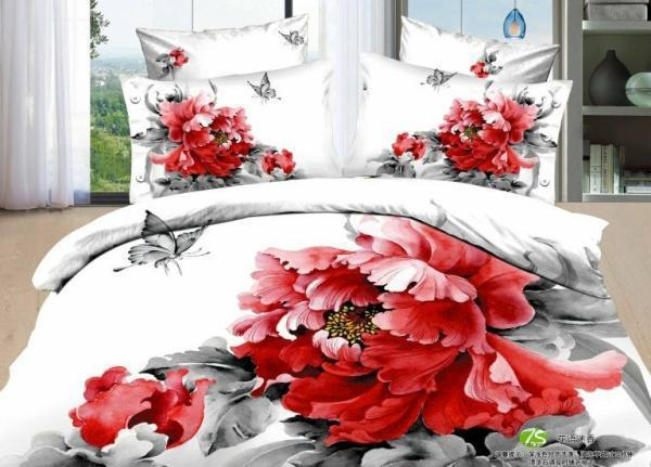 2013 new Beautiful 100% Cotton 4pc Doona Duvet QUILT Cover Set bedding set Full / Queen/  King size 4pcs chinese red flowers