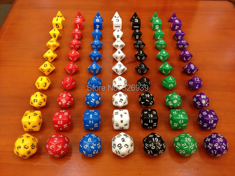 Dungeons and Dragons dice 10 grain of a set(D4,D6,D8,D10,D12,D20,D24,D30),dnd dice ,d&d ,[10 dices] Millionaire dice Toys(China (Mainland))