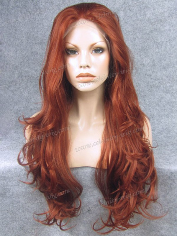 Top fashion &amp; best sale long style synthetic lace front firey red wavy lace wig<br><br>Aliexpress