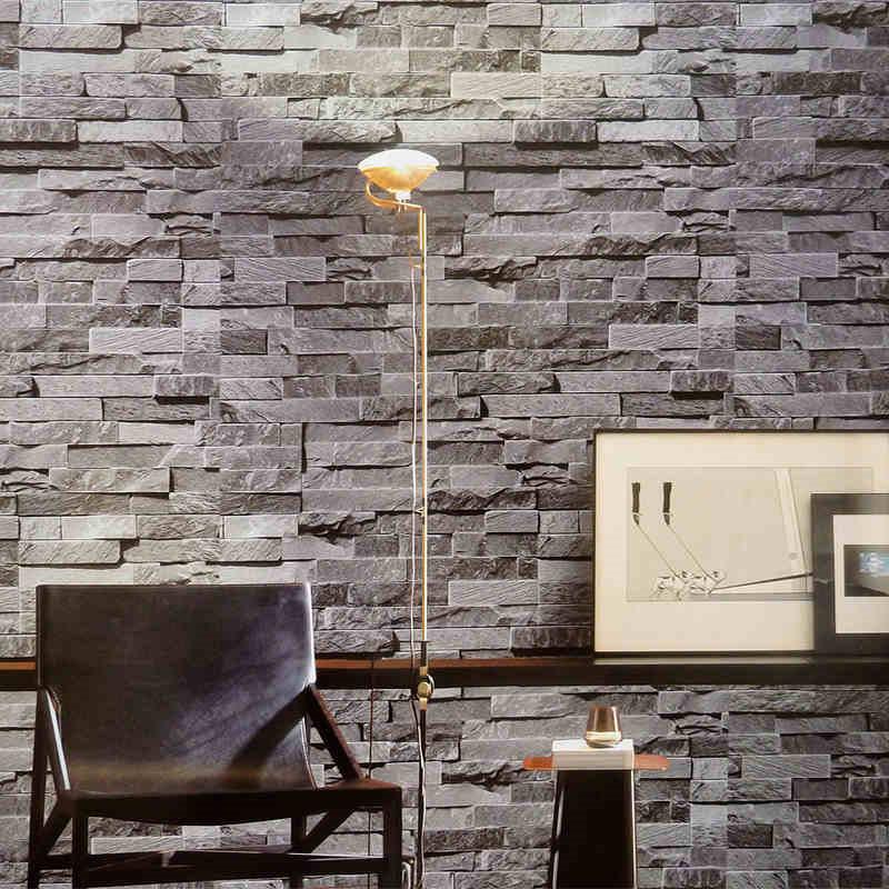 Modern 3d wallpaper gray brick wall vinyl kitchen wall for Brick wallpaper ideas for kitchen