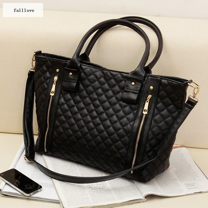 Best Selling New Retro Office Lady PU Quilted Shoulder Tote Bag Hobo Handbag Black free shipping B003(China (Mainland))
