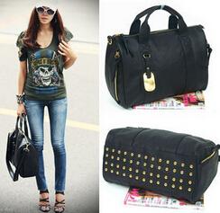New European and American fashion women bag black rivet punk female bag pillow handbag large capacity temperament shoulder bag