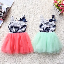 Striped Baby Girls Dress Lace Collar Bowknot Dress Kids Clothes Tutu Tulle Dresses Party Wedding