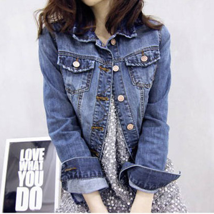 New Arrival Fashion Korea Women Solid Loose Jeans Jacket Ladies Casual Blue Lovely Denim Long Sleeve Tops Coat(China (Mainland))
