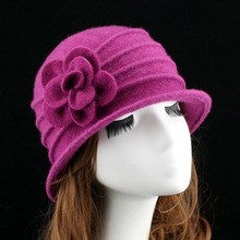 New middle aged women dome fedora 100% wool hat mom hats for autumn and winter solid floral warm floppy hat 7 colors(China (Mainland))