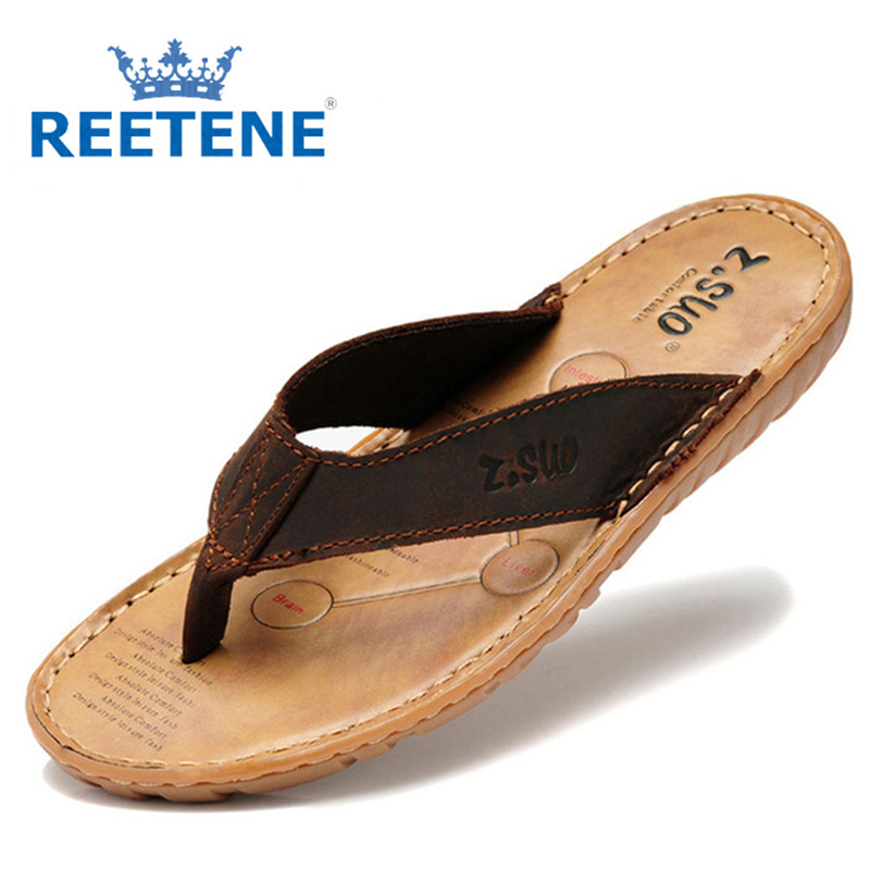 Men's flip flops Genuine leather Slippers Summer fashion beach sandals shoes men plus size Eur :38-47 Sandals Men pantufa - REETENE store