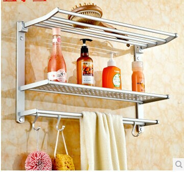 Free shipping Galeoid fish Bathroom Aluminum Alloy Triple Tier Towel rack Multi-layer shelf Accessories timber High quality(China (Mainland))
