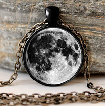 Buy galaxy moon necklace full moon necklace Black Pendant Chain gifts glass Necklace Pendant Sweater Chain Gift for $2.08 in AliExpress store