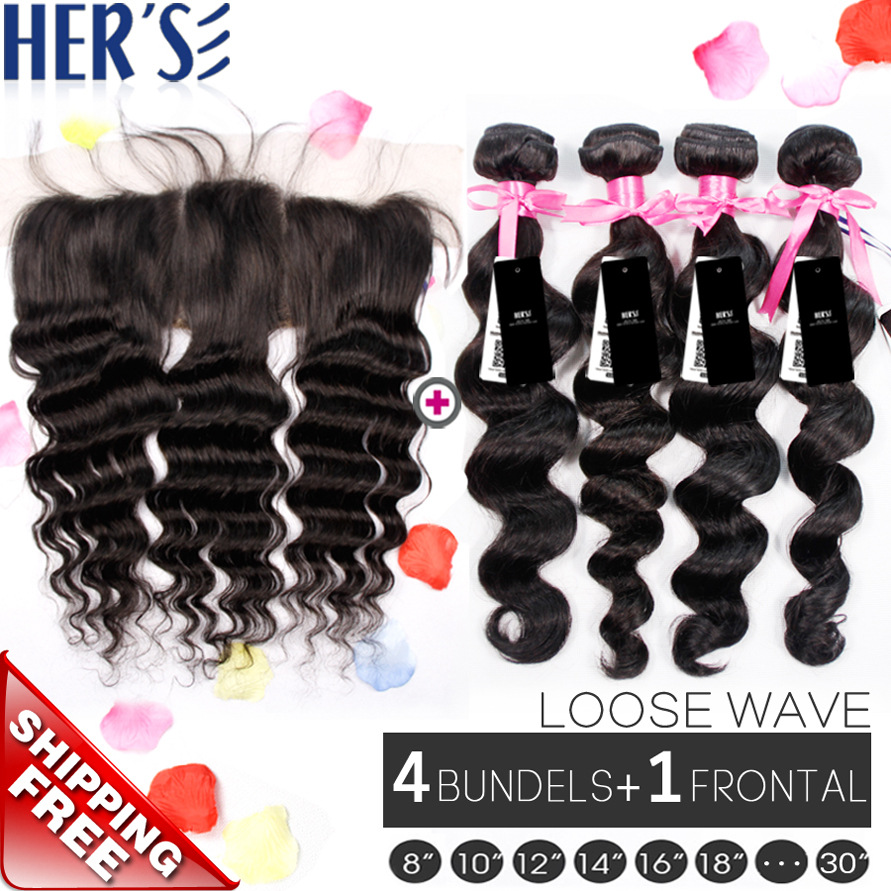 Peruvian Loose Wave With Closure Peruvian Virgin Hair Loose Wave Lace Frontal Closure With Bundles,Human Hair Lace Frontal 13x4