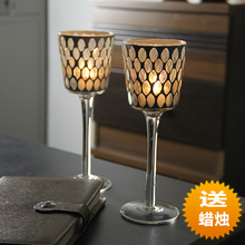 New Products  2pcs/lot glass shining candle holder candle table  house or party decoration home romantic Candlestick(China (Mainland))