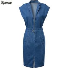 ROMWE Women's Newest Tunic Clothing Summer Sleeveless With Pockets Sexy Deep V Neck Split Denim Bodycon Dress(China (Mainland))