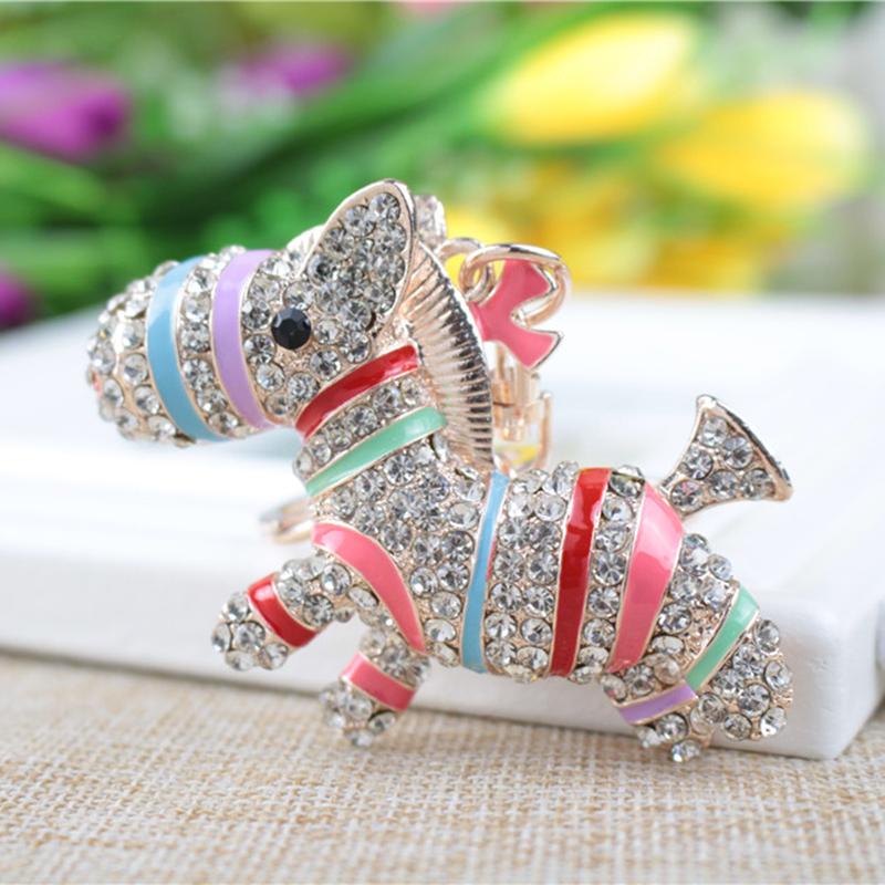New Crystal Animal Horse Keychain Jewelry Fashion Key ring Accessory Purse Charm Pendant Gift(China (Mainland))