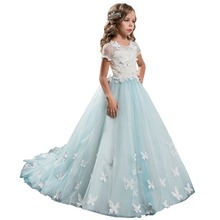 Lace Ball Gown Wedding Dress for Kids 2017 Short Sleeves Butterfly Floor Length Flower Girls Pageant Gowns Plus Size 1061407(China (Mainland))