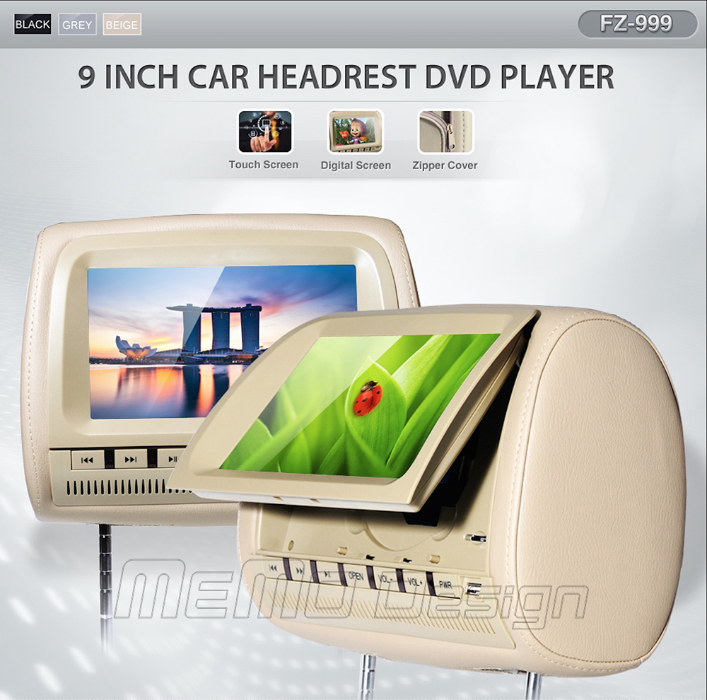 2pcs Touch Screen 9-inch Headrest DVD player,Support DIVX Support DVD/CD/CDG/MP4/MP3/WMA/JPEG,SD/MS/MMC 3-in-1Card Reader(China (Mainland))