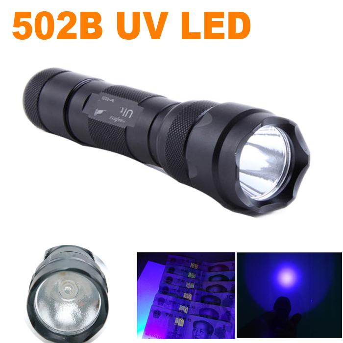 New WF-502B CREE UV LED Flashlight 502B Purple Light UV 395nm Ultraviolet Lamp free shipping(China (Mainland))
