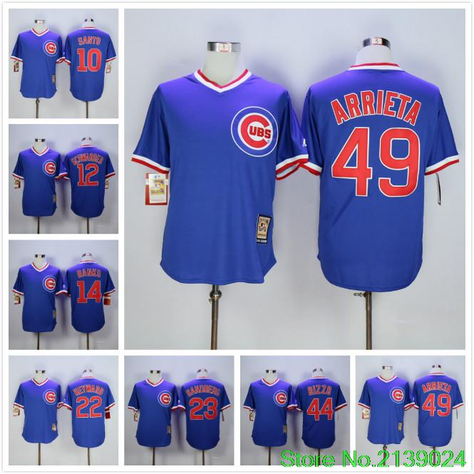 Kris Bryant Anthony Rizzo Kyle Schwarber Ryne Sandberg jason heyward Sammy Sosa Jake Arrieta Throwback Jersey Blue(China (Mainland))