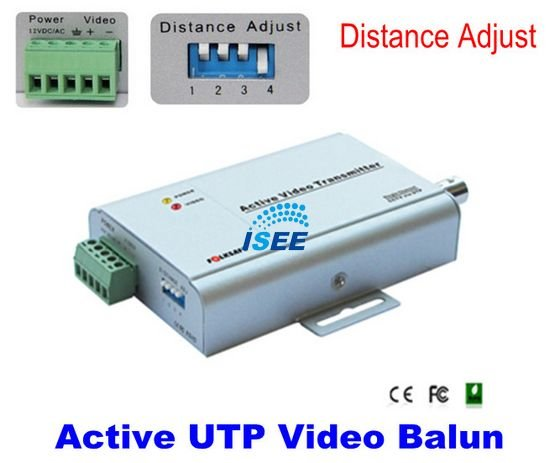 Christmas CCTV 1-CH Active Video Transmitter UTP Balun With Dip Switch For Various Distance Adjustment FREE SHIPPING CHINA POST(China (Mainland))
