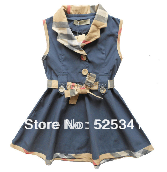 Retail 2-7 Y Baby Girl Plaid Dress,2015 New Brand High quality Kids Party Dress,Girls Contrast color tennis clothes GD11(China (Mainland))