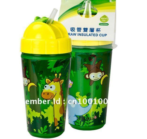 Free shipping SUSEMSE 350ml Kids' Straw Insulated Cup/bottle with slide-lid