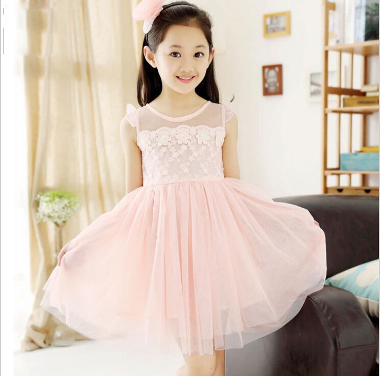 New 2015 children's clothing girls dress's summer female child fashion princess dresses's brand kids sleeveless ball gown pink(China (Mainland))