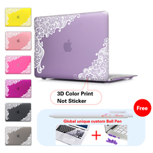 White Lace Floral Insert Dark Red Laptop Computer Bag For Apple Mac Macbook Pro 15 Case Cover / Macbook Pro 13 15 12 Inch Retina