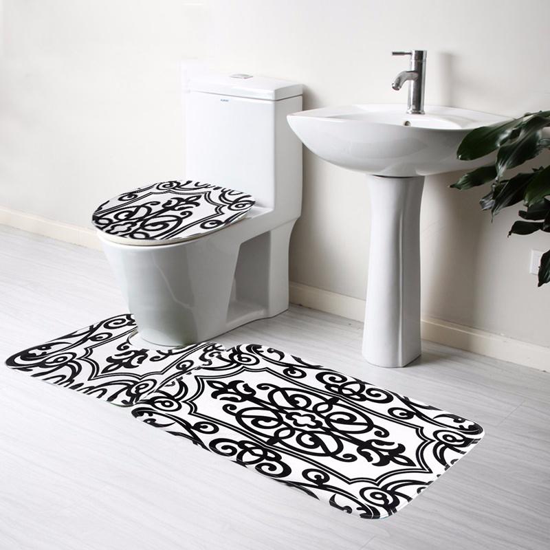 2019 Wholesale Bathroom Non Slip Contour Rug Set Black White Mix