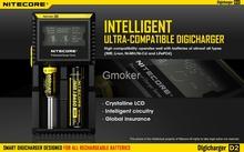 Nitecore D2 nueva actualización I2 LCD Digicharger cargador Universal con Cable para fines 26650 22650 18650 17500 batería Li ion