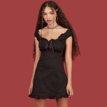 50s 60s винтажное Ретро эластичное джинсовое платье, женское сексуальное приталенное платье на бретельках с оборками и открытой спиной, мини ...(China)