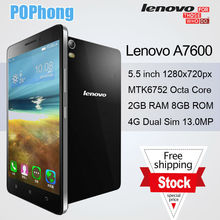 J In stock Lenovo A7600 4G LTE Phone MKT6572 Octa Core 5.5 inch 1280x720px Android 5.0 Dual SIM 3000mAh Battery 13.0MP Camera