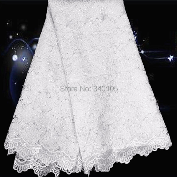 CG 26-4,white!high class African guipure lace fabric with sequins,most popular embroidered cord lace for wedding dress!(China (Mainland))