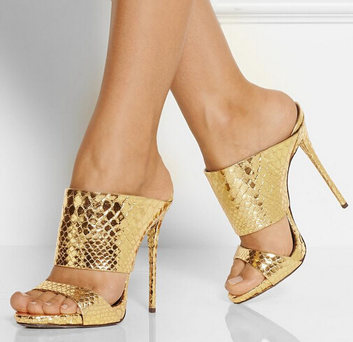 Summer Style High Selling Gold Metallic Snake-effect Leather Sandals High Heel Cut-out Summer Shoes Ladies Slipers Drop Ship(China (Mainland))