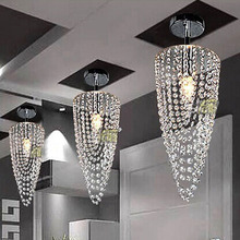 LED 1-light Chrome K9 Modern crystal chandelier lighting D17*H45cm AC110V-256V Transparent color(China (Mainland))