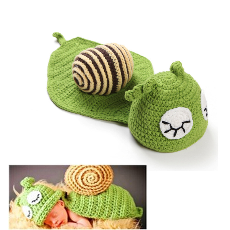 NEW Green Snail Toddler Boy Girl Baby Beanie Costume Animal Hats Caps Sets Taking Photo Photography Props Knit Crochet(China (Mainland))