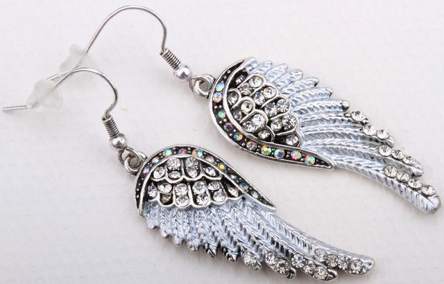 Ангельские крылья болтаться для женщин EC23 панк кристалл байкер ювелирные изделия серебряный тон оптовая продажа топ мода