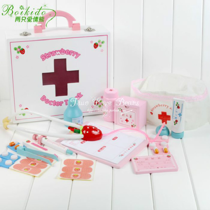 New Arrival Mother Garden Strawberry Children's Wooden Simulation Medicine Box House Doctor Nurse Group Set Toys(China (Mainland))