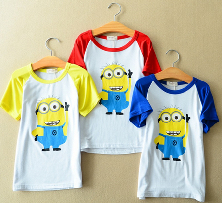 hot sell factory price 2015 new brand t-shirt boy cartoon t-shirts summer 3 colors cotton girls clothes baby tshirt(China (Mainland))