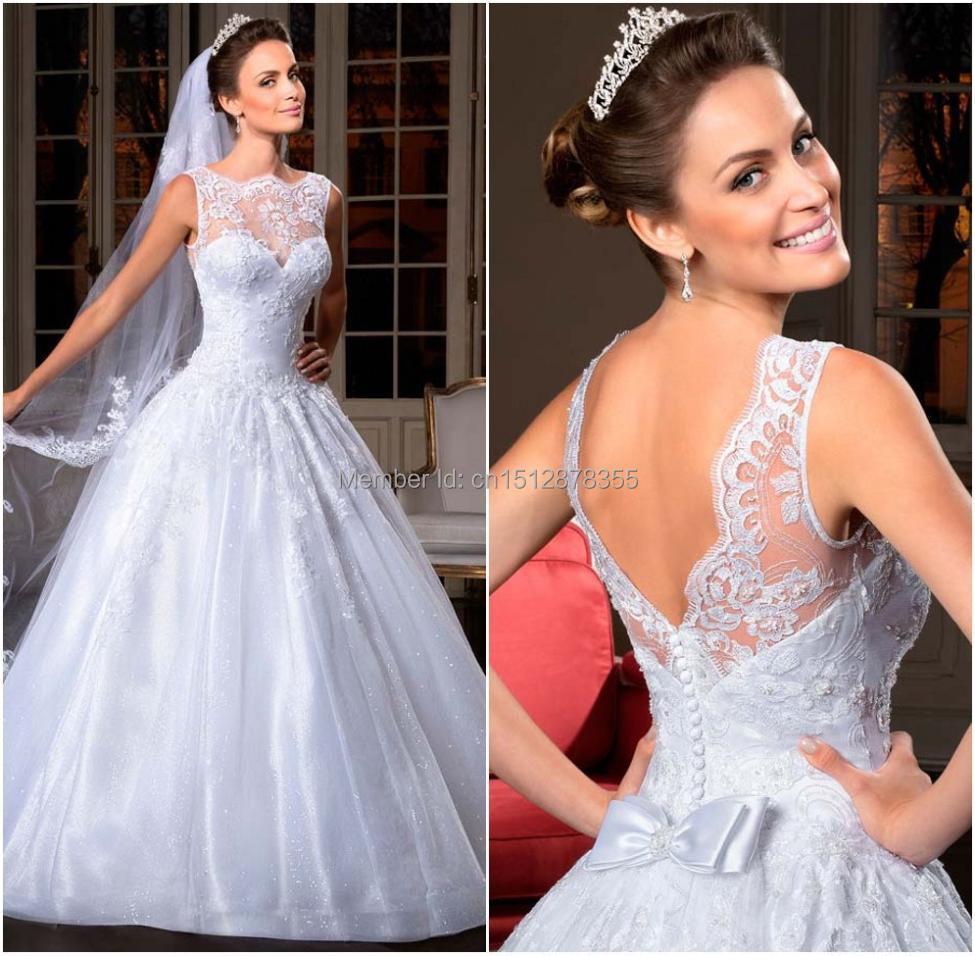 FashionSee Through Best Selling Organza See Through Corset Wedding Dress Wedding Gowns Vestidos De Novia 2015(China (Mainland))