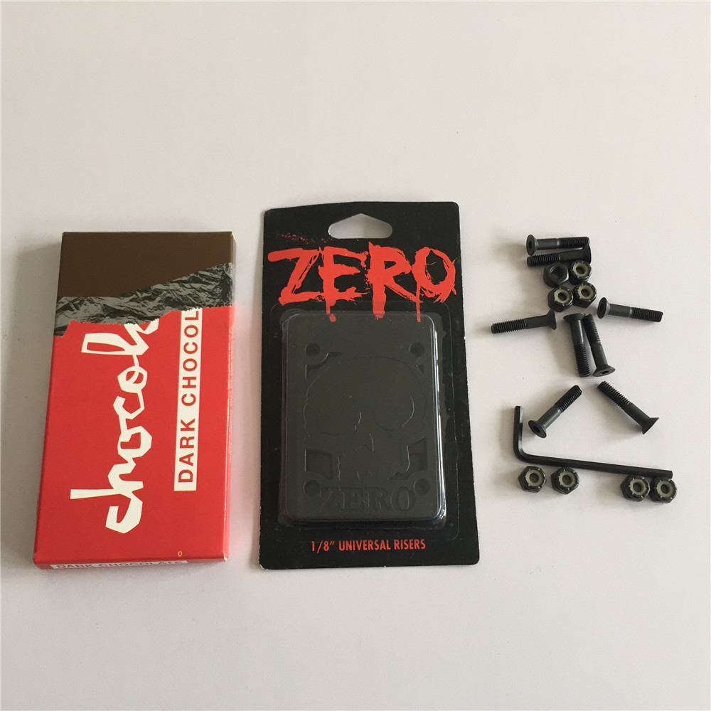 Skateboard Accessories CHOCOLATE ABEC-3 Skate Bearings and ZERO Riser Pads for Protecting Decks Plus One Hardware Set