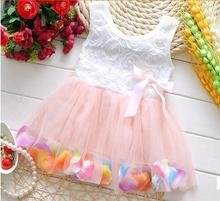 Free Shipping 2016 Summer New Cotton Baby Infant Fairy Tale Petals Colorful Dress Chiffon Princess Newborn Baby Dresses Gift