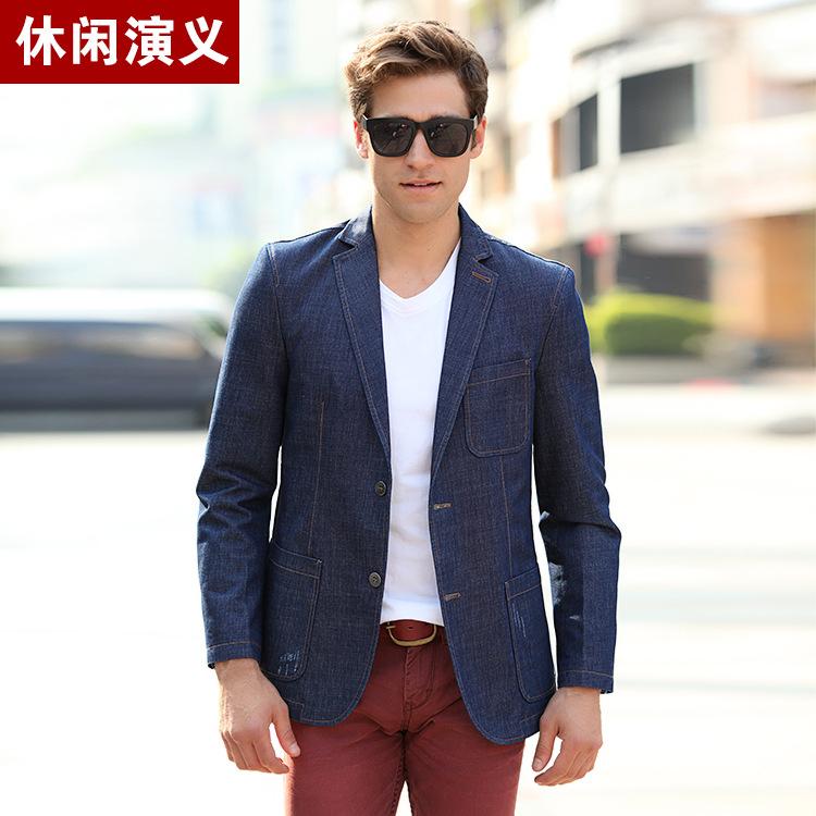 Mens Casual Denim Balzers 2015 New Arrive England Mens Blazer Slim Fit Denim Cotton Large Size M-3XL Jacket Blue Suits A427Одежда и ак�е��уары<br><br><br>Aliexpress