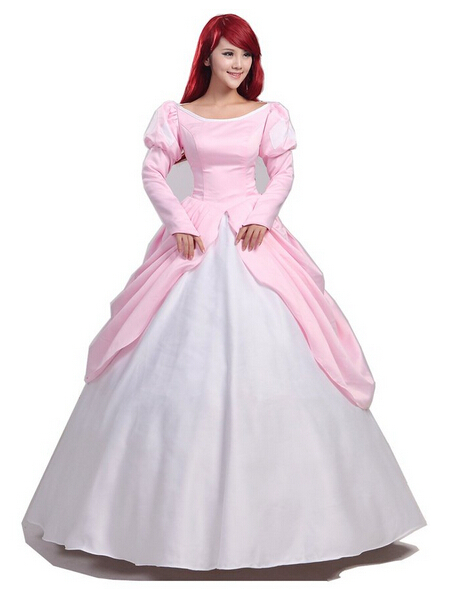Buy pink ball gown adult princess ariel dress cosplay costume the little - Robe princesse disney adulte ...